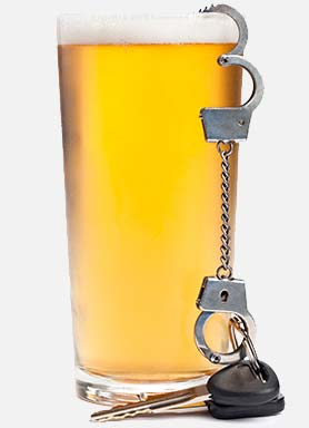 glass of beer with handfuffs and keys causing a dui